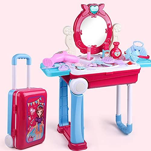 PPuujia Tocador de juguete de belleza 14 unids niños maquillaje simulación juego tocador maleta juguetes con luz y sonido belleza fingir jugar juguetes regalo cumpleaños