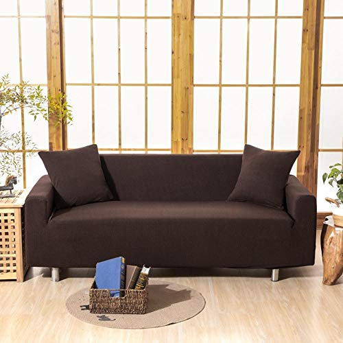 HXTSWGS High Stretch Sofa Cover,Sofa cover 1/2/3/4 seat, solid color sofa protective cover, elastic fabric stretch sofa cover-Color4_235-300cm