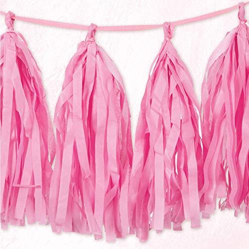Unique Party- Guirnalda con borlas de papel de seda, Color rosa oscuro, 274 cm (62953)