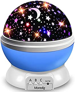 Moredig Night Light Projector, 360 Degree Rotation Kids Projector Night Light with 8 Multicolor, Starry Light Best Presents for Kids Nursery Bedroom - Blue