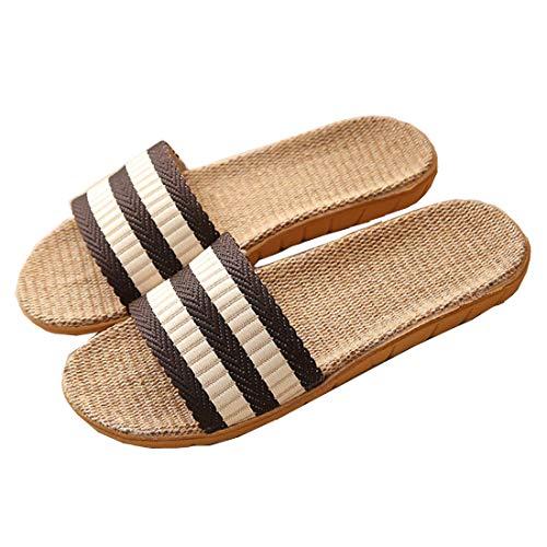 Zapatillas para Mujer Hombre Unisex Zapatillas de Estar por Casa de Lino Interior Sandalias de Playa Verano Primavera Otoño(Marrón,44-45)