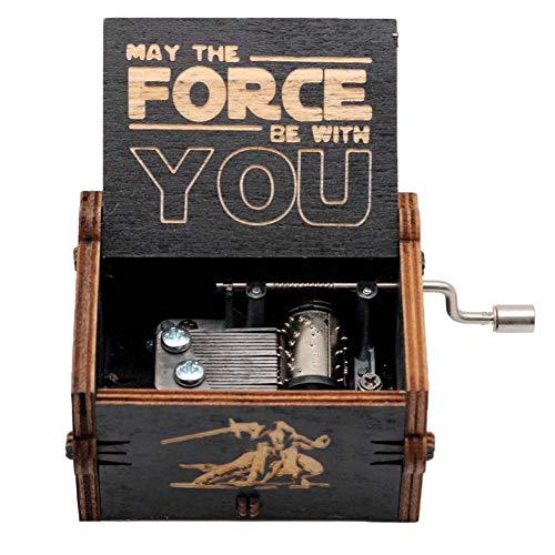 Goodangie00 Schwarz Hölzerne Spieluhr Holz Handkurbel Graviert Musikbox Vintage Hochzeit Valentinstag Weihnachten Geburtstagsgeschenk - Star Wars