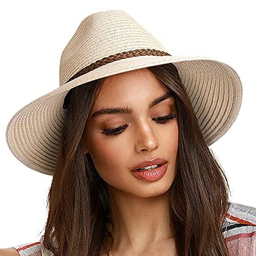 Mantimes Kvinnor sommar brett brätte UV UPF 50+ Panama Fedora vikbar packbar halmstrandhatt BEIgE L