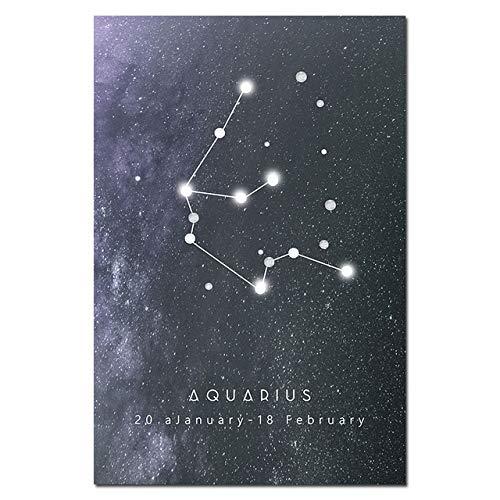 wangdazhaung Constelación Abstracta Acuario Astrología Póster, Impresión Moderna En Blanco Y Negro sobre Lienzo, 40×60Cm(15.74In×32.62In) Acuario