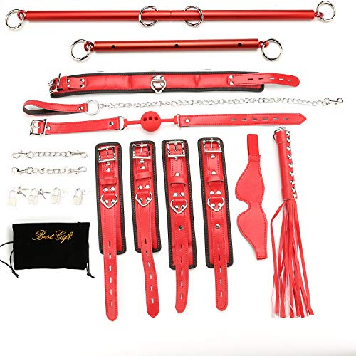 2pcs Frosted Red Expandable Spreader Bar with 14pcs Adjustable Lichi Black...