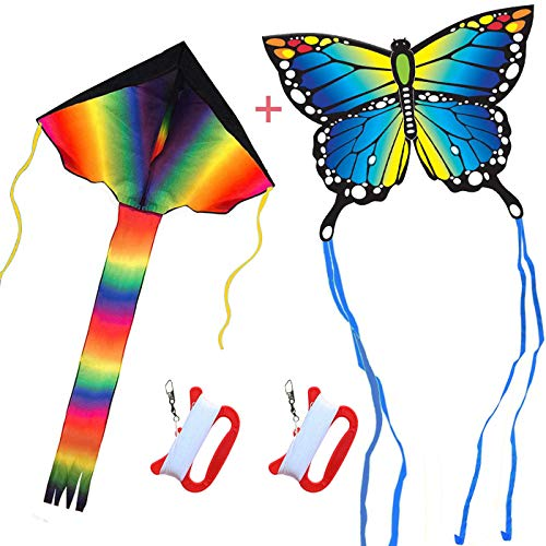 HONBO Rainbow+Butterfly Kite for Kids -Easy to Assemble, Launch, Fly Great for Beach Use - The Best Kite for Everyone - Girls, Boys, Kids, Adults, Beginners and Pros Iowa