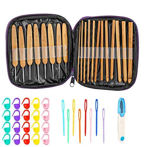 Aguja de ganchillo mreechan, juego de agujas de tejer de 20 piezas, gancho de tejer con mango de bambú natural, con bolsa de almacenamiento, adecuado para tejer muñecas, ropa, mantas, etc.