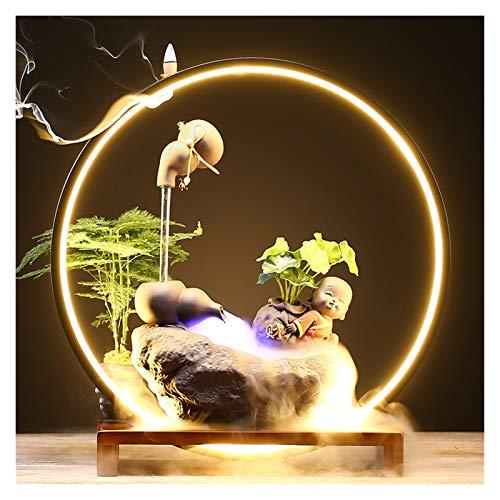zxb-shop Fuente de Mesa Anillo de lámpara de humidificador de Agua de circulación de Olla Flotante Creativa Lucky Sala de Estar Desktop Object Apertura Regalo Springs Fuente de relajación (Color : A)