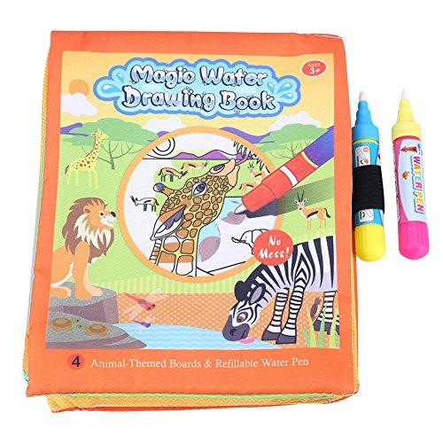 Zerodis Acqua Colorare Doodle Libro di Stoffa Animali Pittura Magica Giocattolo Disordine Riutilizzabile acquarello con 2 Penne ad Acqua per Bambini Piccoli Apprendimento precoce