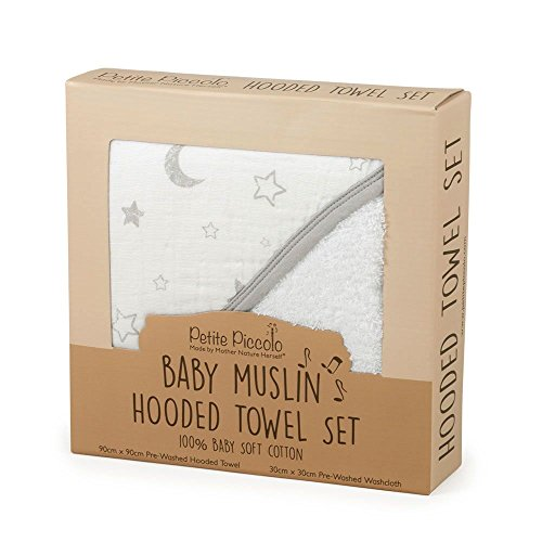 Petite Piccolo Hooded Towel Set de Muslin pour Bébé Stars & Moon
