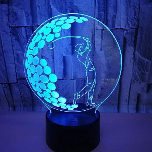 Hancoc Lámpara LED de golf de colores gradiente 3D estereoscópico táctil remoto USB luz nocturna mesilla de noche escritorio imaginativamente decorada regalo de Navidad cumpleaños 20 x 13 cm