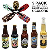 ShengLai 5 Pack Can Cooler Sleeve Zipper Beer Bottle Holders To Keep Cold Can Cooler Stainless Steel Coke Cooler Can Holders For Beer Can Sleeves Cooler Tube Slim Can Insulator –NY08-14-Multi Colors