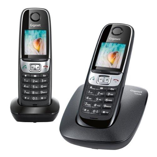 Gigaset C620 DUO Schnurlostelefon (Französische Variante, Anschluss für das französische Telefonnetz) schwarz