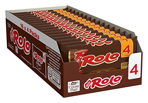 Nestlé ROLO, Schoko-Praline mit weichem Toffee-Kern, leckere Karamell-Füllung, Multi-Pack, 16er Pack (à 4 x 41,6g)