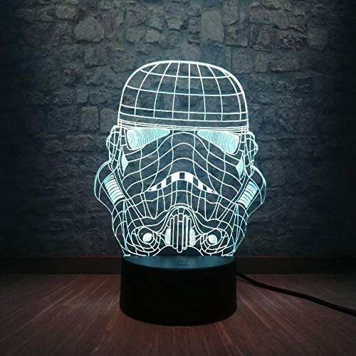 Lampe Illusion 3D Led Night Light Star Wars Storm Knight Mode Cartoon Usb Chambre Sommeil 7 Couleurs Gradient Starrys