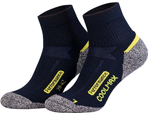 Piarini Coolmax - 2 pares de calcetines para senderismo y deportes al aire libre. Calcetines técnicos cortos, negro antracita, azul gasolina. -