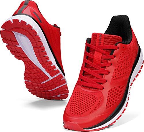 WHITIN Laufschuhe Herren Joggingschuhe Straßenlaufschuhe Turnschuhe Sportschuhe Gym Schuhe Walkingschuhe Fitnessschuhe Dämpfung rutschfeste Sommerschuhe Outdoor Alltagsschuh Rot 41 EU