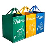 Opret Bolsas Basura Reciclaje 3 Pack Cubo de Reciclaje Separadas con Asas Gran Capacidad 40L para Papel, Vidrio y Plástico, Ideal para Hogar/Oficina/Interior/Exterior
