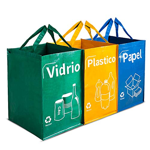 Opret Bolsas Basura Reciclaje 3 Pack Cubo de Reciclaje Separadas con Asas Gran Capacidad 40L para Papel, Vidrio y Plástico, Ideal para Hogar/Oficina/Interior/Exterior …