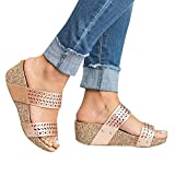 Gibobby Sandals for Women Women's Platform Sandals Espadrille Wedge Ankle Strap Studded Open Toe Sandals Gold