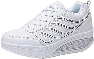 Zapatillas de Plataforma Zapatos Deportivos Casuales para Exteriores con Cordones para Mujer Cuñas de Tenis Calzado Inferi...
