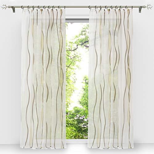 HongYa 1er-Pack Voile Gardine Transparenter Vorhang mit Kräuselband Wellen Druck H/B 225/140 cm Creme Braun