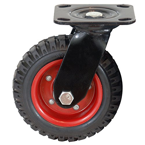 "POWERTEC 17050 Swivel Heavy Duty Industrial Caster, 6.25"" Wheel Rubber Knobby Tread – Black"