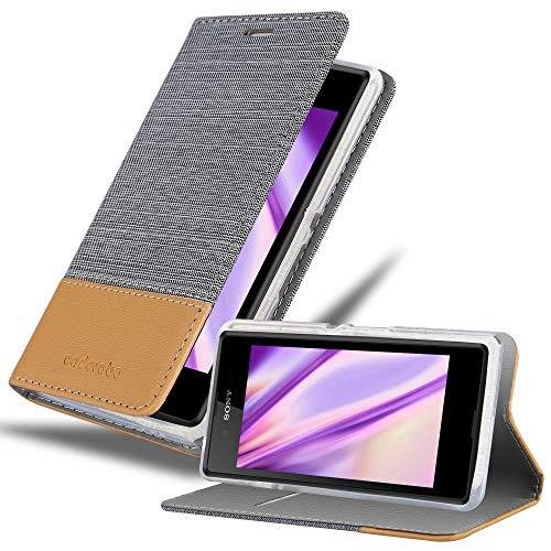 Cadorabo Hülle für Sony Xperia E3 in HELL GRAU BRAUN - Handyhülle mit Magnetverschluss, Standfunktion & Kartenfach - Hülle Cover Schutzhülle Etui Tasche Book Klapp Style