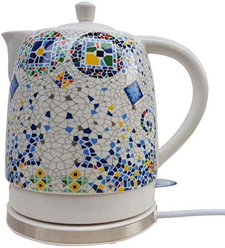 DJY-JY Hogar hervidor eléctrico de cerámica hervidor tradicional blanco mosaico patrón hierve agua rápido para té café sopa avena 1L