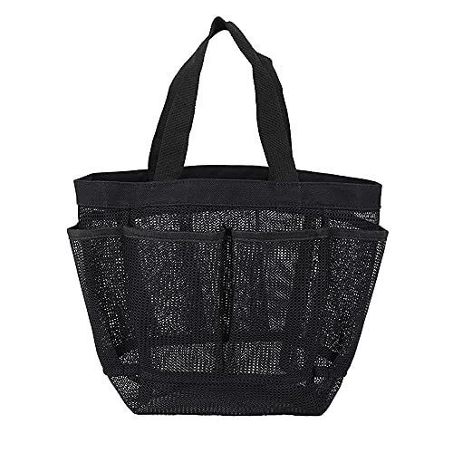 ZKSM Mesh Shower Caddy, Portable Shower Basket Dorm with 9 Pockets, Quick Dry Hanging Shower Bag, Essential Toiletry Storage Bag for Student Dormitory, gym, travel or camping (Black)