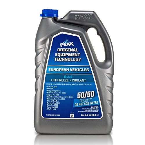 PEAK OET Extended Life Blue 50/50 Prediluted Antifreeze/Coolant for European Vehicles, 1 Gal.