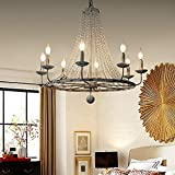 Jiuzhuo Rustic Candle Shaped 8 Light Crystal Bead Strands Metal Wheel Large Chandelier Lighting Hanging Ceiling Fixture,Distressed White