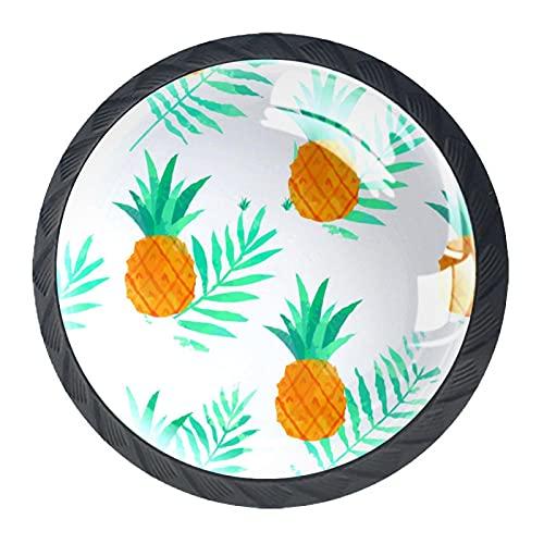 BestIdeas Okrągłe gałki do szuflad 4 opakowania 30 mm uchwyty do wyciągania białe ananasy nadruki używane do sypialni komoda szafka drzwi kuchenne