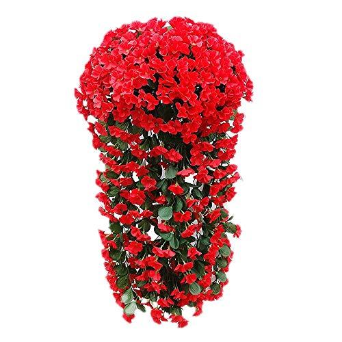 2PCS Flores Artificiales Vid Violeta Colgante, Plantas Falsas Cestas Colgantes Plantas Hogar al Aire Libre Boda Arco Jardín Decoración de la Pared (Sin Canasta) (Color : Red)