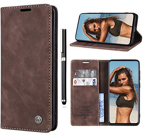 Paitech Handyhülle für Samsung M30s Hülle Flip Lederhülle Wallet Schutzhülle Handyhülle Tasche Hülle für Samsung Galaxy M21 Magnetic Closure Klapphülle Cover mit Kartenfach, Standfunktion - Dunkelbraun