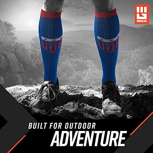 『MudGear プレミアムコンプレッションソックス – メンズ&レディース ランニング ハイキングトレイル (1ペア) L ブルー』の4枚目の画像