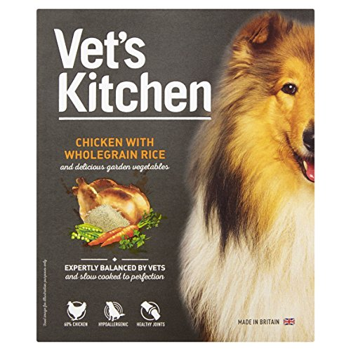 Vet's Kitchen- Comida húmeda para mascotas, sabor pollo con arroz integral, 395 g (paquete de 10)