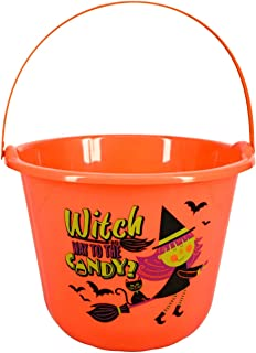 Bags n Tags Boutique~ Printed Loot Buckets For Halloween 12.15 x 9 Inches With Bonus Mini Pumpkin Flashlight W/Rope (Orang...