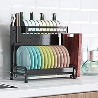 水切りラック 2つのフック付き食器乾燥ラック、201ステンレス鋼2層食器棚(水切りボード付き)、調理器具ホルダー、まな板ホルダー、キッチンのカウンタートップ用の防錆食器水切り器、黒(Color:あ)