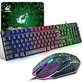 Tastiera e Mouse da Gioco, Layout Italiano QWERTY Gaming Tastiera Retroilluminato a LED Colore...