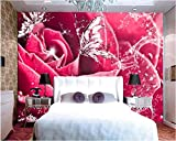 Dianer Water Rose Butterfly Flower 3D Backdrop Living Room Bedroom Mural House Decorative Background Walls Mural 3D Wallpaper-250X175Cm