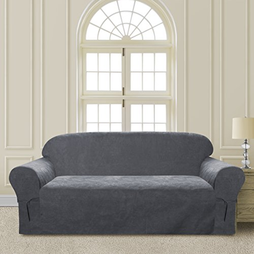 Comfy Bedding Microsuede Sofa Furniture Slipcover with Elastic Straps under Seat Cushion (Gray, Sofa)