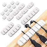 opopark 20 pezzi clip per cavi organizer per gestione organizzatore di cavi per casa e ufficio tv pc laptop(bianco)