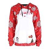 TWIFER Frohe Weihnachten Frauen Sweatshirt Pullover Bluse T-Shirt (S, Rot)