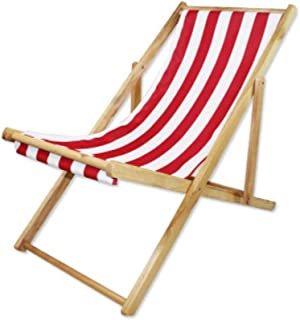 Lovehouse Wood Beach Chair, Foldable Sling Chair Adjustable Heigh,Portable Beach Lounge Chair,Stripe Waterproof Canvas,Supports 220 Lbs