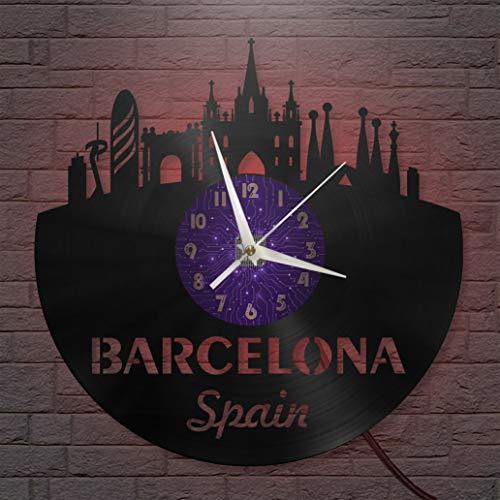 Barcelona Reloj de Pared LED con Disco de Vinilo de 12 Pulgadas, Reloj de Pared de Vinilo para Cocina, hogar, Sala de Estar, Dormitorio (P, con LED), Reloj de Pared con Disco de Vinilo, diseño Modern