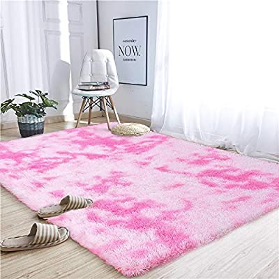 Noahas Abstract Shaggy Rug for Bedroom Ultra Soft Fluffy Carpets for Kids Nursery Teens Room Girls Boys Thick Accent Rugs Home Bedrooms Floor Decorative, 4 ft x 6 ft, Pink