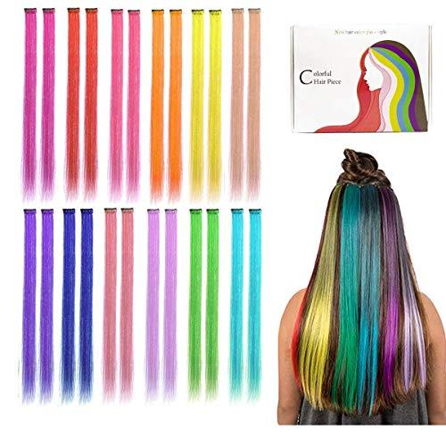 Kyerivs Farbiger Haarverlängerungs Clip Regenbogen Farbe Gerade Synthetisch Haarteil für Mädchen und Kinder Strähnchen Clip 12 Farben in 24 pcs