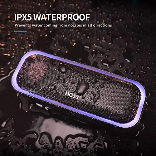 DOSS SoundBox Pro Altavoz Bluetooth Portátiles con 360° Sonido, Mejorado Bass, Pareado Estéreo, Múltiple LED, IPX5 Impermeable, 12 Horas de Emisión Continua Manos Libre - Azul