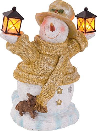 SSITG HEITRONIC Solar LED Schneemann mit Laterne Solarleuchte Weihnachten